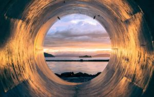 view from inside a pipe